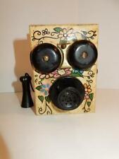VINTAGE OLD FASHION PHONE PENCIL SHARPENER WOOD AND METAL