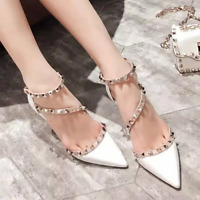 Womens Rivets Pointed Toe Stilettos Sandals Mid Heels Studded Ankle Strappy D251