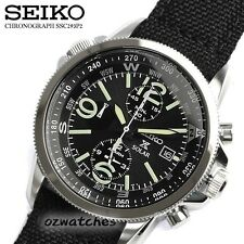 SEIKO PROSPEX SOLAR CHRONOGRAPH MENS WATCH SSC293P2 BLACK CLOTH BAND SSC293
