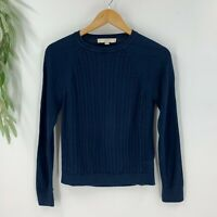 Ann Taylor Loft Womens Pullover Sweater Size M Navy Blue Cable Knit Cotton Blend