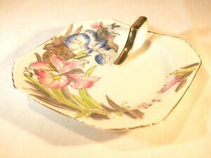 Occupied Japan Trinket Octagonal Tray w/ Handle Decorated Iris pattern porcelain