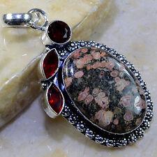 hecho a mano piel de leopardo Jaspe Piedra Preciosa colgante plata ley 925 6.3cm