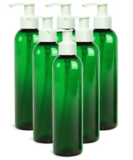 6 Empty Lotion Pump Bottles - Sanitizer Gel Refillable Green 8 Oz White Pumps