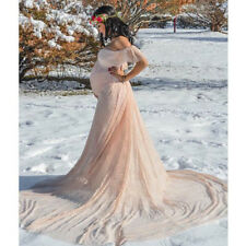 Pregnant Women Off-Shoulder Lace Maxi Gown Maternity Dress Photography Props