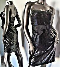 NWT-MISS SIXTY FIONA BLACK SEQUIN STRAPLESS SWEETHEART BOW ZIP DRESS SZ4 MSP$169