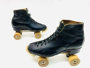 Vtg 1950s Hyde Leather Roller Skates Cleveland Skate Plates Wood Wheels Sz 10