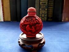Antiguo chino Cinnabar tabaco botella-Oriental Ware -