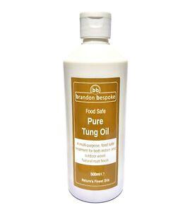Brandon Bespoke 100% Pure Tung Oil 500ml - Food Safe - A Smooth, Matt Finish