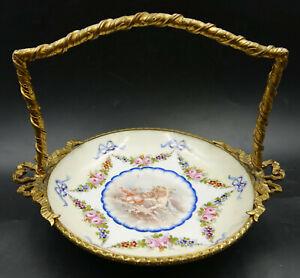 19th Century French Sevres Porcelain Ormolu Bronze Sweetmeat Basket Tray Cherubs