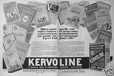 PUBLICITÉ 1927 KERVOLINE L'HUILE QUI S'IMPOSE POUR AUTOS - ADVERTISING