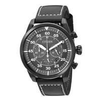 Citizen Men's Watch Avion Chronograph Grey Dial Black Leather Strap CA4215-21H