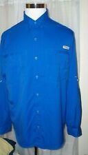Men'S Columbia Pfg Omni-Shade Blue Long Sleeved Fishing Shirt L Large