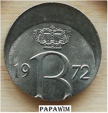 25 cent 1972 België. Boudewijn I. Excentrisch/Misslag/Error/Fautée/fehlprägung.