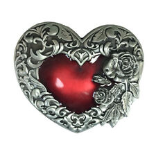 Antique Metal Rose Red Loyal Heart Belt Buckle Floral Designed Fashion New Style