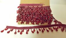 5 YARDS  RED BEADED TRIM UPHOLSTERY PILLOWS CRAFTS JEWELRY MAKING LOT C