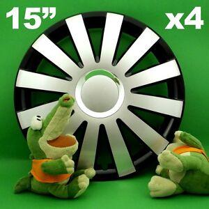 """Radkappen 15"""" ONYX ★ 4 Stück ★ SILBER +SCHWARZ für SKODA Octavia Rapid Roomster"""