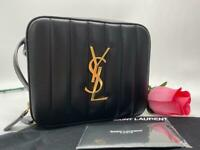 AUTH NWT $1250 Saint Laurent YSL Vicky Black Quilted Lambskin Leather Belt Bag