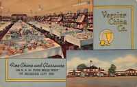 Linen Postcard Vernier China Company West of Michigan City, Indiana~119429