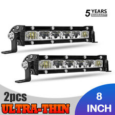 Pair Ultra Slim 8Inch CREE LED Light Bar Single Row Spot Offroad Driving ATV UTV