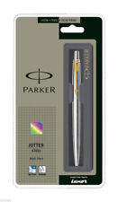 Parker Jotter SS Steel Gold Trim Blue Ink Ball Point Pen Fine Point 0.8mm