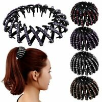 Crystal Expandable Ponytail Holder Clip Bun Maker Hair Grip Claw Clamp Bird Nest