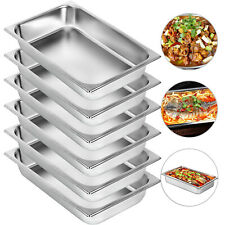 Set Of 6 Full Size 4 Deep Silver Anti Jam Stainless Steel Hotel Steam Table Pan