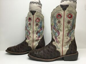 VTG WOMENS ARIAT FATBABY SQUARE TOE BUCKAROO COWBOY PRINT BROWN BOOTS SIZE 9.5 B