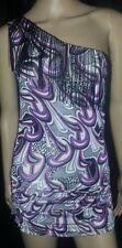 DOTS ONE SHOULDER PRINTED PURPLE PAYSLEY FRINGED CLUBWEAR MINI DRESS - SMALL