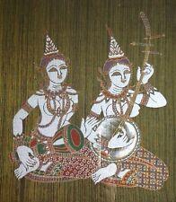 Vintage Framed Thai Art On Silk India Hindu Musicians Folk Art