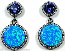 Tanzanite Blue Fire Opal Inlay Solid 925 Sterling Silver Black Rhodium Earrings