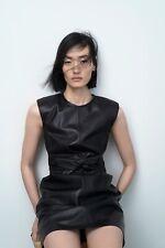 Zara Real Genuine Black Knot Front Mini Leather Shift Dress Large L £169