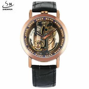 SHENHUA Steampunk Hollow Out Mechanical Automatic Self-Winding Men Wrist Watches