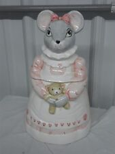 1990 HOUSE OF LLOYD MELINDA MOUSE & TEDDY BEAR COOKIE JAR ~ PINK HEART APRON  m1