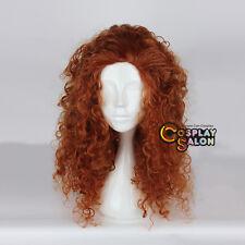 60cm Orange Brown Anime for Merida Curly Heat Resistant Cosplay Wig + Free Cap