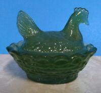 Boyd Jadite Glass Chicken/Hen on Nest Salt Dish From Boyds 3rd 5 Years