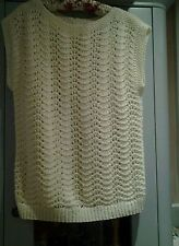 LADIES HAND KITTED CLOTTED CREAM JUMPER - SIZE APPROX 14