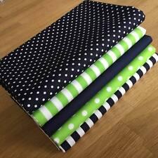 Blender fabrics in LIME GREEN & NAVY BLUE Fat Quarter Bundle STRIPES, SPOTS