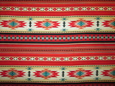 Navajo Indian Red Teal Border Native American Print Cotton Fabric FQ
