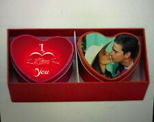 Personalised heart tins and scented candles with red box, any photos and text