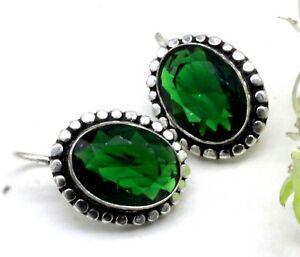 "925 Sterling Silver Chrome Diopside Gemstone Handmade Jewelry Earrings Size-1"""
