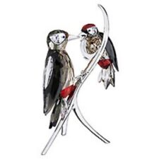 SWAROVSKI SILVER CRYSTAL WOODPECKERS BLACK DIAMOND 957562 MINT & BOXED