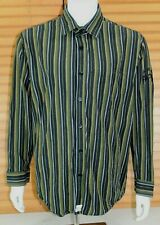 Le Jean De Marithe Francios Girbaud Mens LRG Shirt Green Striped Long Sleeve