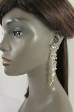 Women Extra Long Gold Metal Chain Fashion Hook Earrings Rhinestone Dressy Flower