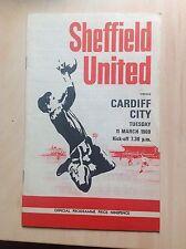 Sheffield United v Cardiff 1968-69 programme