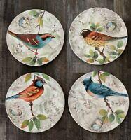 Pier 1 ~ Embossed BIRD NESTING Salad Plates Set of (4) Orange, Blue Bird NWT