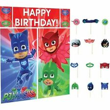 PJ MASKS WALL BANNER DECORATING KIT (5pc) WITH 12 Photo Props! photo background
