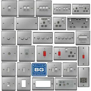 BG Nexus Brushed Steel Switches&Sockets FullRange Satin Grey Black White Inserts
