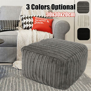 Footstools Foot Rest Stool Pouffe Ottoman Corduroy Seat Furniture Beanbag Cover