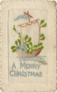 """2 POSTCARDS WWI Silks A Merry Christmas & other 5 ½"""" x 3 ½"""" approx UnPosted"""