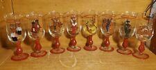 "Rainbow Mountain Santa'S Reindeer Glass Goblet set of 8, 7 3/4"", Excellent"